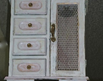 Hand decorated jewelry chest with brass wire on door, shabby chic