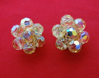 """Vintage 1"""" clip earrings with pale yellow aurora borealis coated glass crystal beads  in great condition"""