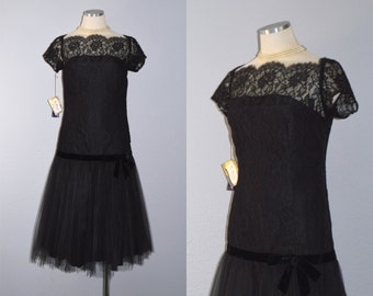 ON HOLD / Not for Sale / Chantilly Mermaid dress / vintage 1940s dress / 40s black lace party dress / drop waist / flapper / DEADSTOCK