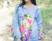 Bella Tunic Kaftan Style in One Long Flower pattern in Gray Color | Bohemian Caftan, Perfect for Loungewear, Holidays & more