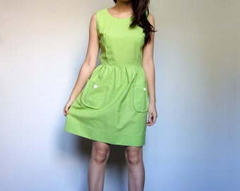 Lime Green Dress Pockets Simple Vintage 70s Sleeveless Sundress Womens Summer Dress - Small S