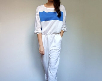 80s White Jumpsuit Womens Romper Pockets Vintage Loungewear One Piece Playsuit Comfy Sweatshirt - Small to Medium S M
