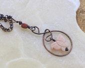 Oxidized Copper Pendant Necklace - Peach Quartzite Butterfly Necklace - Antiqued Copper Pendant - Butterfly Pendant - Rustic Necklace