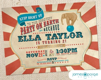 Vintage Circus Party Invitation (5x7) Digital Design