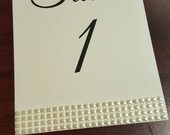 Classic Rhinestone Accent double sided table number, self standing,  pearlized, table numbers Silver and White