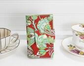 Tea wallet - Teabag case for travel - red green -  4 pockets Tea bag travel wallet - red tea wallet