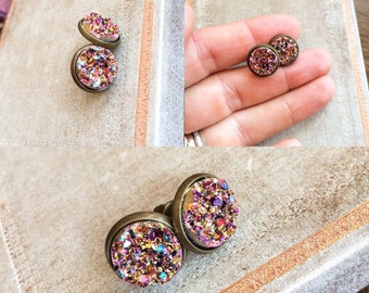 Rose Gold Rainbow Druzy Earrings, Round Druzy Stud Earrings