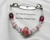 Pink Floral Beaded Medical ID Bracelet - Interchangeable ID Bracelet made to wear with Medical Alert ID and Watch Face