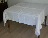 Vintage 1930s Pure White Linen Tablecloth Square with Scalloped Edges over 5' by over 4'