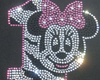 Minnie Mouse 1st Birthday clear pink zebra iron on rhinestone transfer for shirt WHOLESALE available