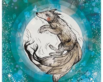 Limited Edition A3 Art Print: Fox Spirit - Fox Artwork - Modern - Wall Art - Birthday Gift -Home- Japanese Folklore - Kitsune