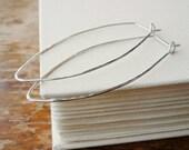 Sterling Silver Leaf Hoop Earrings . Long Sterling Silver Geometric Hoops.  Silver Dagger Hoop Earrings . Hammered Skinny Point Earrings