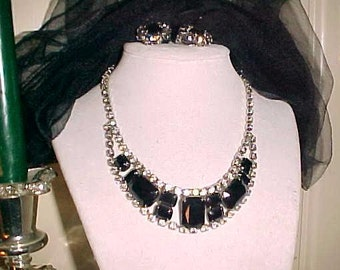 Vintage 60s Rhinestone Necklace & Ears STATEMENT Centerpiece CHIC Paris Black or HALLOWEEN/Bargain