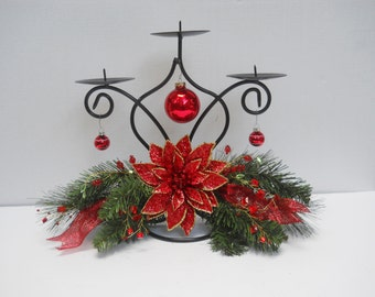 Christmas Holiday Triple Candle Holder, Decorated, Floral Arrangement