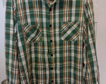 Sears men's plaid shirt tartan grunge men Nirvana 90s nineties XL flannel as is skater