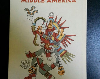 National Geographic Archeological Map of Middle America Mesoamerican 1968