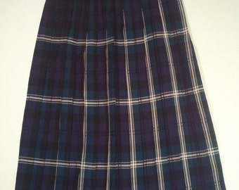 SALE blue green plaid skirt pleated skirt schoolgirl boho bohemian punk tartan grunge size 6