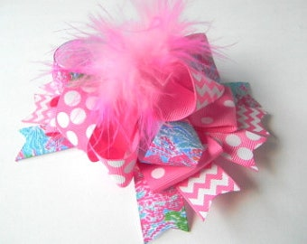 Lilly Pulitzer Hair Bow-Let's Cha Cha Hair bow-Hot Pink