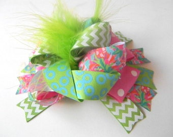 Lilly Pulitzer Hair Bow - LuLu Hair bow-Flamingo Hair bow - Turquoise Hot pink Lime Green