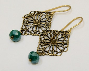 Filigree earrings, filligree drops, green glass rondelle earrings, green filigree earrings,