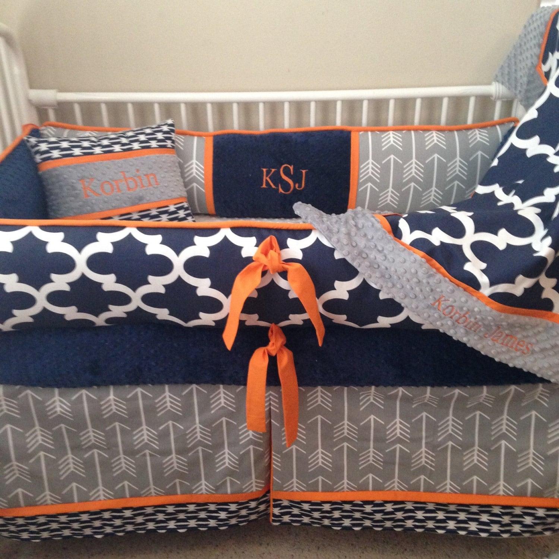 Baby bedding crib set navy blue orange grey gray arrow - Navy blue and orange bedding ...