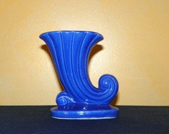 McCoy Cobalt Blue Cornucopia Vase