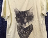 The Gangster Bandit Kitty Cat wearing Sunglasses T-Shirt 100% Cotton Kids S M or L