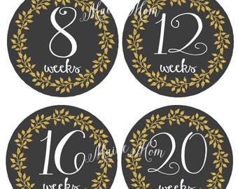 GIFT Pregnancy Belly Stickers, Weekly Pregnancy Stickers, Baby Bump Stickers, Pregnant  Announcement, Gold Glitter Floral Wreath