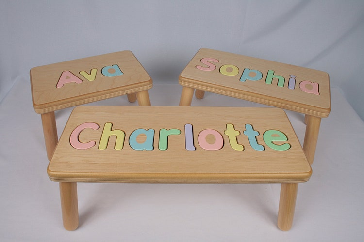 Wooden Name Puzzle Step Stool Bench By Jandpwoodproducts