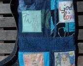 "Mixed Denim Fabric Patchwork Bag ""God is Love"" ,Sling Bag, Handmade Tote, Eco-Friendly bag, Shoulder Bag, Shades of Blue and Teal, Crossbody"