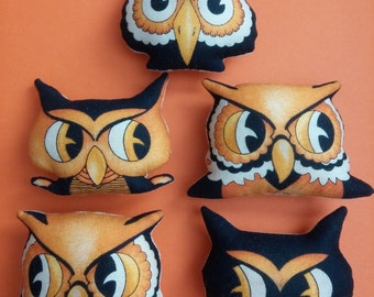 Set of 5 Primitive Halloween Owl Cat Ornies Tucks Bowl Fillers Shelf Sitters Trick or Treat Candy Alternative Gift Retro Nostalgic
