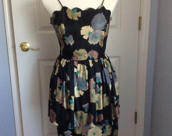 Vintage silk 1950s party dress - carnation print
