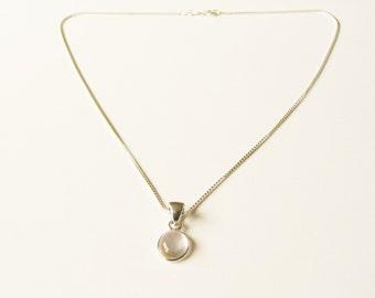 Sterling quartz pendant: Sacred sterling silver pendant necklace with clear quartz healing crystal, quartz necklace, sterling silver pendant