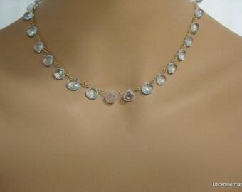 Blue Topaz Briolette Necklace in Gold