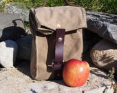 Small Field Tan Waxed Canvas, Cordura, and Leather Reusable Insulated Lunch Bag