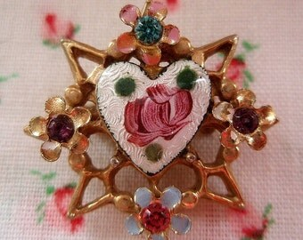 Heart Pin Vintage Enamel Heart with Posies Pink Rose Gold Star Rhinestones
