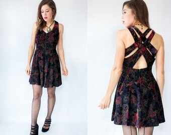 Vintage 80's Black Velvet Dress Iridescent Floral Painted Velvet Dress / Criss Cross open back / Party Dress / Fit and Flare