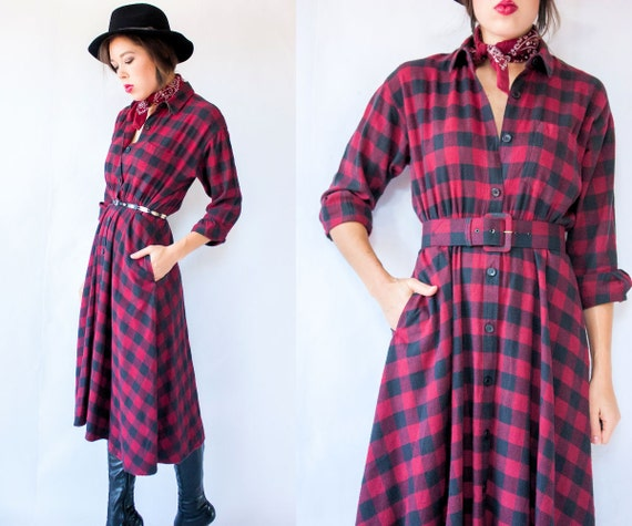 Deep Red BUFFALO PLAID 80's Vintage Lumberjack Flannel Dress with Pockets and Matching Belt Shirtdress