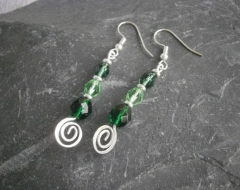 Shades of Green  Earrings  Czech glass beads hypo Allergenic earwires Jewellery Jewelry