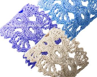 DIY Projects  Crochet Pattern Crochet Cuff Pattern Bracelet Pattern Wrist Cuff Blue Bracelet Flower Crochet