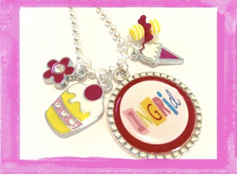 Personalized Charm Necklace - CUPCAKES and ICE CREAM  -  Bezel Charms - Personalized Jewelry - #