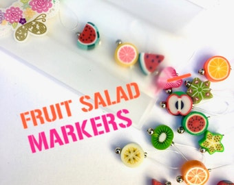 knitting stitch markers, snag free -FRUIT SALAD