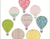 ON SALE HOT Air Balloon clip art, hot air balloons clip art, baby shower clip art, balloon, instant download clip art