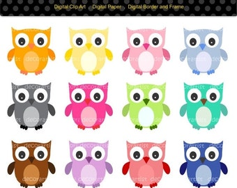 ON SALE owl clip art , instant download Digital clip art owls .,12 Candy Colour Owls , Download and print JPEG , Png File.