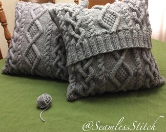 SUMMER SALE: Medium Grey Chunky Cable Pillow-cover, fits 16x16
