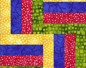 Digital, PDF Quilt Block, Quilt Block in Rail Fence, Quilt Top Block,  Quilt Sewing Block, Easy Quilt Block, Quilt Tutorial, Block Tutorial