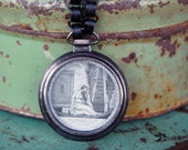 Mourning Style Neckalce with Watch Case and Book Chain - Mourn Me but Do not Forget Me