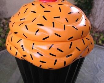 Pumpkin Midnight Sprinkles Cupcake Jar