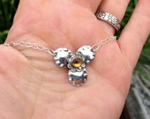 Sterling Silver Flower Necklace - Gemstone Necklace - Jewelry For women - Silver Gemstone Pendant