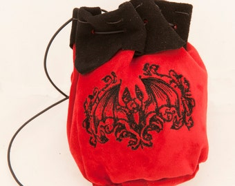 Diy kit large leather pouch larp dice bag kit do it yourself large leather pouch with gothic bat embroidery medieval drawstring alchemist witch larp ren faire halloween steampunk solutioingenieria Images